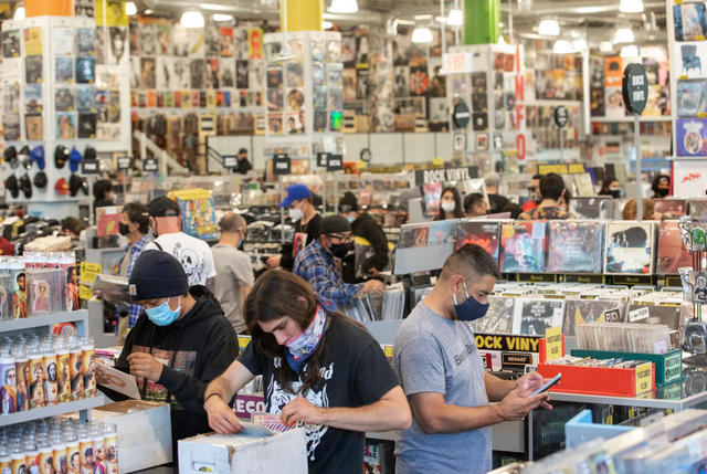 HOLLYWOOD, CA - APRIL 01, 2021: Customers shop inside Amoeba Music on Hollywood Blvd. in Hollywood that reopened in a new location after being shuttered for a year due to the coronavirus outbreak. (Mel Melcon / Los Angeles Times via Getty Images)