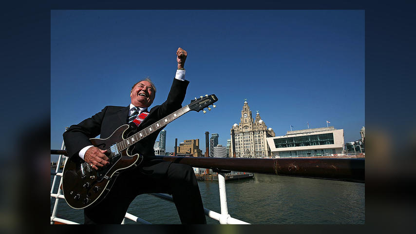 LIVERPOOL, ENGLAND - APRIL 20: Liverpool musician and singer Gerry Marsden sings as he receives the freedom of the city on board the Mersey ferry which he made famous with his song Ferry Across The Mersey on April 20, 2009 in Liverpool, England. Gerry's freedom of the city is in honour of his charitable services to the city and his contribution to Liverpool life. His other hits as part of the band Gerry And The Pacemakers, included You'll Never Walk Alone and I Like It. (Photo by Christopher Furlong/Getty I