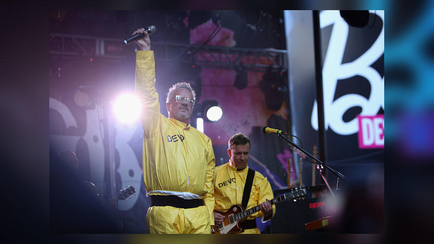 NEW YORK, NY - OCTOBER 12: Mark Mothersbaugh and Bob Mothersbaugh of Devo performs at CBGB Music & Film Festival 2014 - Times Square Concerts on October 12, 2014 in New York City. (Photo by Anna Webber/Getty Images for CBGB)